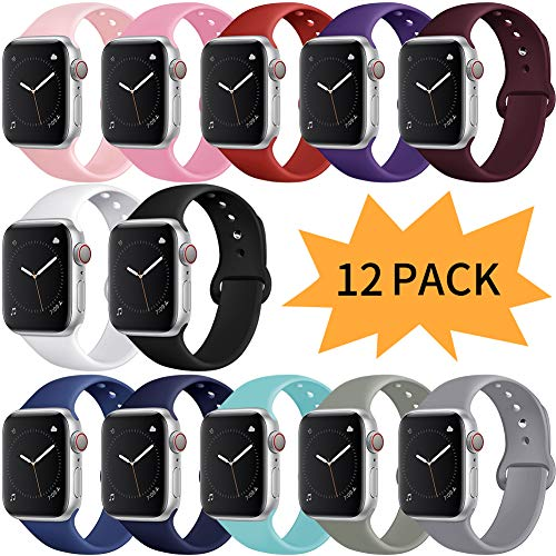 Bravely klimbing Compatible with Apple Watch Band 38mm 40mm 42mm 44mm, for Women Men, iwatch Bands Compatible with iWatch Series 5, Series 4, Series 3, Series 2, Series 1 S/M, M/L 12 Pack