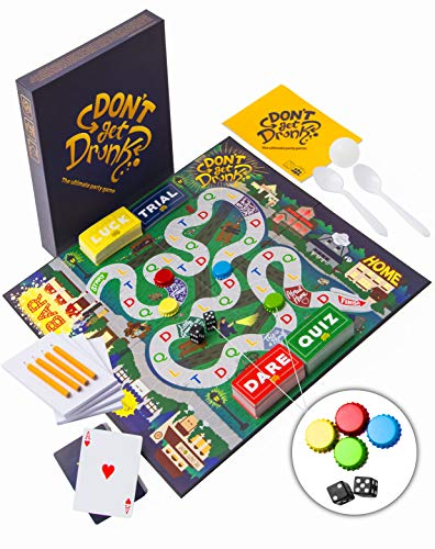 Don't Get Drunk The Ultimate Party Board Game: Combines Classic Drinking Games, Beer Pong, Flip Cup, Kings Cup and Other Mini Games Like Dare, Trivia, Luck, and Trial Cards.
