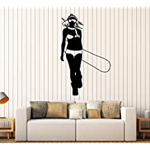Vinyl Wall Decal Extreme Sport Snowboarding Snowboarder Girl Stickers Large Decor (1015ig) Flame Red
