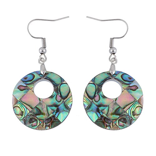 (TUSHUO The Round Shape of the Abalone Shell Pendant Earrings, Eardrop (Sliver))