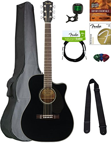 Fender CC-60SCE Concert Acoustic-Electric Guitar – Black Bundle with Gig Bag, Tuner, Strap, Strings, Picks, Austin Bazaar Instructional DVD, and Polishing Cloth
