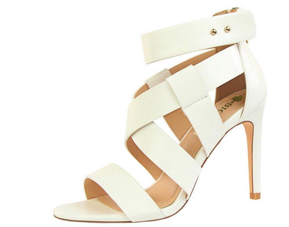 LUCKY ROAD High Heels Sandaletten Frauen-Klassische Gericht Schuhe Stiletto Pumps MultiFarbe Schuhe EU37-40 Weiß EU38