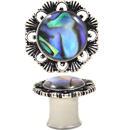 Pair of Ornate Abalone Double Flared Ear Plugs Gauges (2G (6mm))