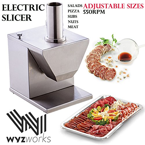 WYZworks Stainless Steel Electric Chopper Dicer Slicer Cutter Meat Potato Sausage Vegetable Ratatouille Pro Commercial Kitchen Equipment Restaurant Grade Salad Bar Rohs CE LFGB Approved