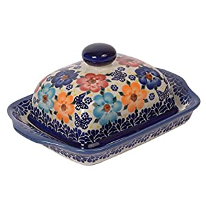 Traditional Polish Pottery, Handcrafted Ceramic Butter Dish with Lid, Boleslawiec Style Pattern, B.101.MEADOW