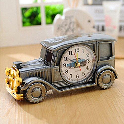 KAKA(TM Vintage Car Bubble Car Design Digital Alarm Clock Creative Gifts for Kids Children Car Lovers - Grey