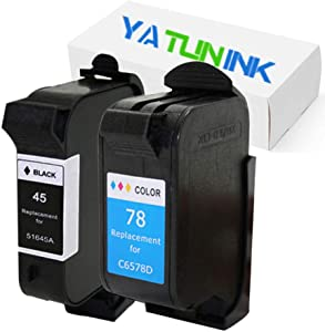 YATUNINK Remanufactured Ink Cartridge Replacement for HP 45 78 Ink Cartridge 51645A C6578DN (1Black 1Color,2 Pack)