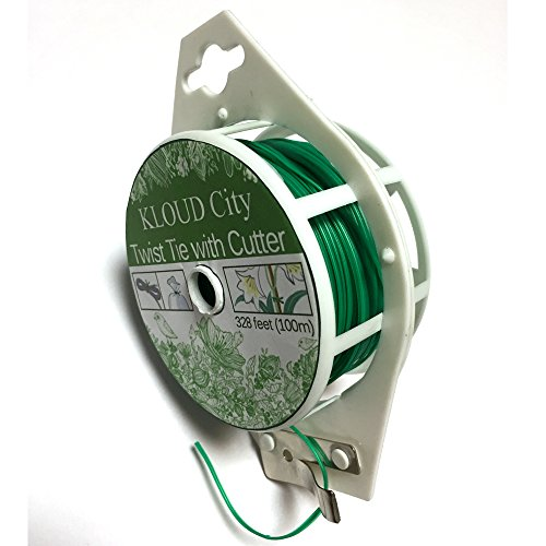 KLOUD City 328 Feet (100m) Green Multi-Function Sturdy Garden Plant Twist Tie with Cutter/ Cable Tie/Zip Tie/ Coated Wire (1) (1 roll green)