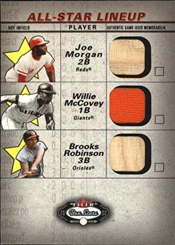 2002 Fleer Box (2002 Fleer Box Score All-Star Lineup Game Used #2 Joe Morgan Bat Willie McCovey Brooks Robinson Bat Jersey - NM-MT)