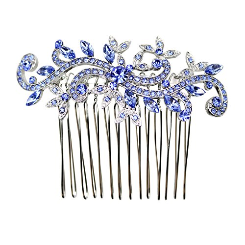 Faship Gorgeous Blue Crystal Floral Hair Comb - Blue