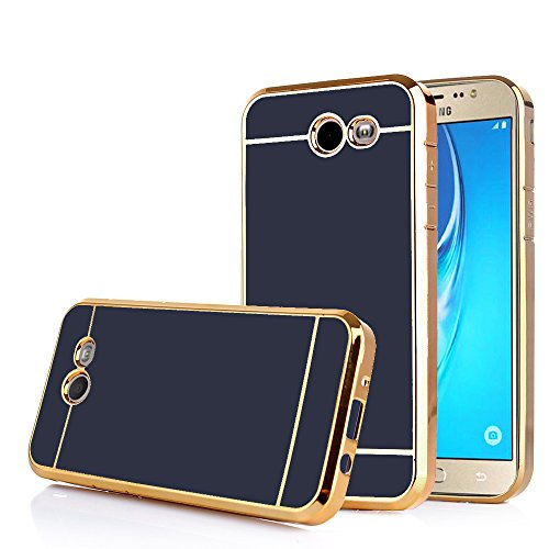 TabPow Galaxy J7 Prime 2017 Case, Electroplate Slim Glossy Finish, Drop Protection, Shiny Luxury Case for Samsung Galaxy J7 Perx/Galaxy J7 Sky Pro/Galaxy J7 V / J7 2017 -Black Gold