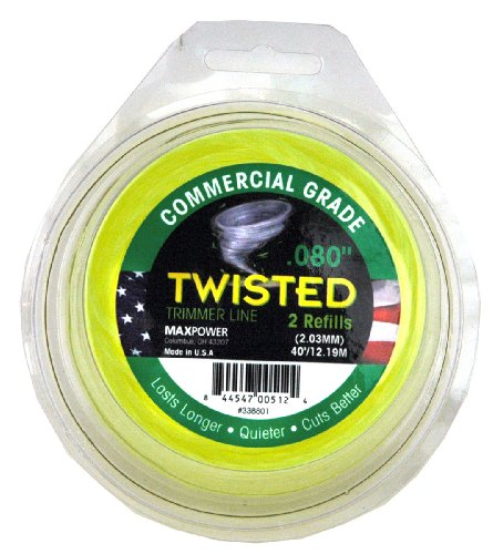 Maxpower 338801 Premium Twisted Trimmer Line .080-Inch Twisted Trimmer Line 40-Foot Length ()