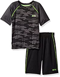 STX Toddler Boys\' 2 Piece Performance T-Shirt and Short Set, Ts_Black/Lime, 4T