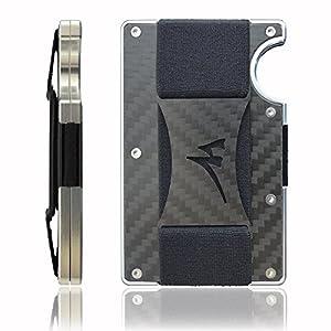 Martrams Carbon Fiber Credit Card Holder RFID Blocking, Minimalist Design With Anti-Slip Elastic Money Clip, Slim Front Pocket Wallet, 2018 NEW VERSION