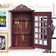 """Indian Hand Crafted 13"""" Wooden Key Box, Checks Inlay Work Key Holder, Decorative Brown Color Key Cabinet Organizer 6 Hooks for Your Dream Home, Easter Day / Mother day / Good Friday Gift"""