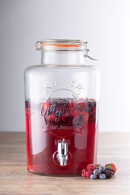 Kilner Clip Top dispensador de bebidas redondo P001, Vidrio, 8 Litre, 8 Litre: Kilner: Amazon.es: Industria, empresas y ciencia
