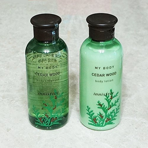 INNISFREE My Body CEDARWOOD Body Wash & Body Lotion SET 300ml Each - Evening Primrose Rose Body Lotion