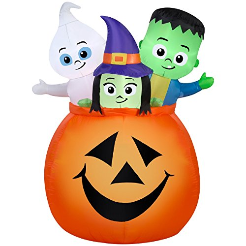 Halloween Inflatable 5' Monster Trio in Pumpkin By Gemmy