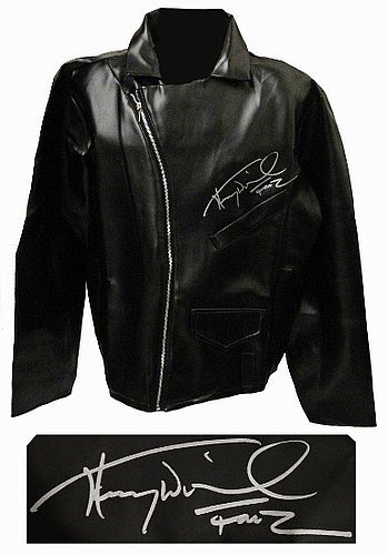 16a82a3d8 Henry Winkler Signed Black Faux Leather Biker Jacket Fonz (Happy  DaysMovieTVEntertainment) at Amazon s Sports Collectibles Store