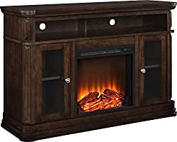 """Ameriwood Home Brooklyn Electric Fireplace TV Console for TVs up to 50"""", Espress by Dorel Home Furnishings"""