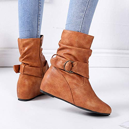 Botte Cuir Femmes Tout Lacets Dcontractes Sur Marron La Souple De Cinnamou Bottes aller Bottines Zip En Synthtique Le Augmentation L'intrieur Pour Ct XFwx5PUn