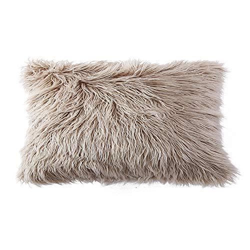 OJIA Deluxe Home Decorative Super Soft Plush Mongolian Faux Fur Throw Pillow Cover Cushion Case (12 x 20 Inch, Light Coffee) (Faux Fur Shams)