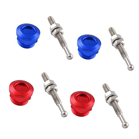 Flameer 4 Pieces Solid Push Button Low Profile Hood Pins Lock Car Lock Clip Kit 7//8 inch Quick Latch for Hood Bumper or DIY