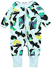 "KIDS TALES ""Pineapple Footed Zipper Pajama Sleeper Cotton Romper(Size 4"