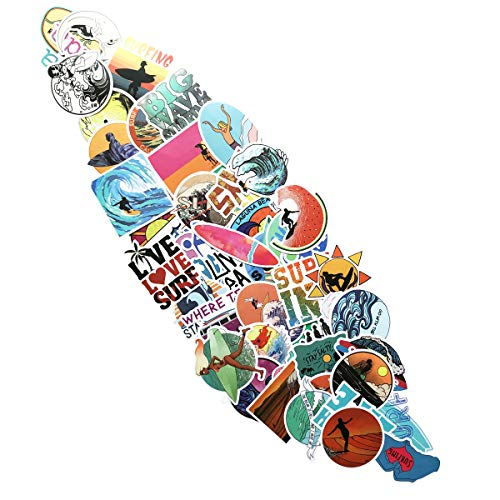 Cool Stickers Surf Stickers(50Pcs),Laptop and Water Bottle Decal Aesthetic Sticker Pack for Teens, Girls, Women Vinyl Stickers Waterproof (Surfing)