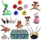 Cat toys set 18pcs in cat toy box for gift - pet toys interactive - kitten toys - cat accessories - cat supplies - kitty toys - cat plush toys pack - cat wand catnip mice fishing - cat toy organizer