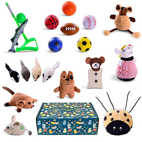 Cat toys set 18pcs in cat toy box for gift - pet toys interactive - kitten toys - cat accessories - cat supplies - kitty toys - cat plush toys pack - cat wand catnip mice fishing - cat toy (Ferret Soccer Ball)