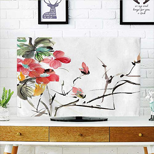 (Auraisehome TV dust Cover Collection Popular Early Period Asian Watercolors Design Print with Vivid Floral Motifs Art TV dust Cover W20 x H40 INCH/TV 40