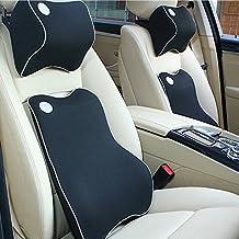 AOTOSOLO Premium Memory Foam Car Lumbar Cushion & Car Neck Pillow Kit (Black)