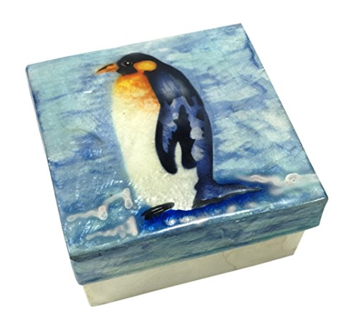 Kubla Craft Penguin Capiz Shell Keepsake Box, 3 Inches Square