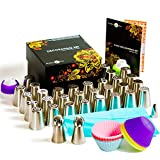 Exclusive Russian Piping Tips Set - 66pcs Cake Decorating Kit- Icing Nozzles- Frosting Tips- Sphere ball tips - Pastry Bags- Silicone cups-Resuable bag- Couplers-Gift Box-Baking Supplies Set- Booklet