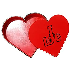 """Latin Woman Heart Shape Gift Box in Red, Wooden Laser Cut """"I Love"""" Perfect Mother's Day, Birthday."""