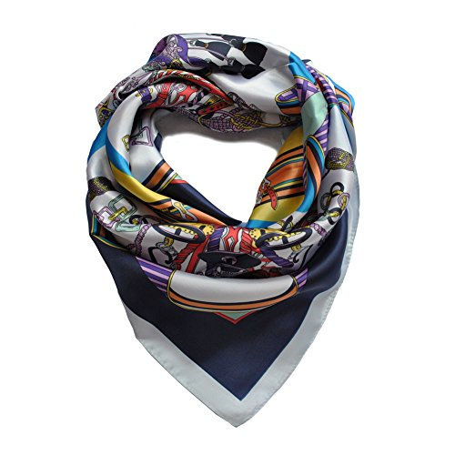 Printed Silk Square Scarf (Color Life Women Floral Printed Square Silk Scarf Head Scarf(07))