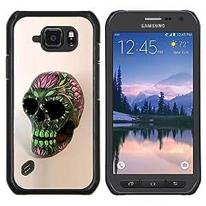 EJOOY---Cubierta de la caja de protección para la piel dura ** Samsung Galaxy S6Active Active G890A ** --Cráneo floral de la primavera Verde Rosa Muerte