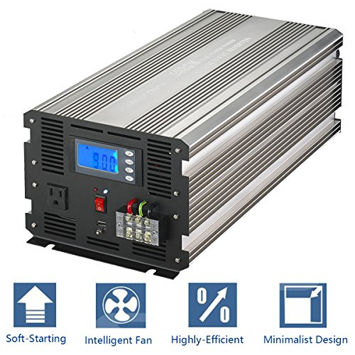MarchInn 5000W (10000W Surge) Pure Sine Wave Solar Power Inverter Off Grid 24V DC to 120V AC Power Converter Solar Panel, RV for Home Car Use with Smart-D Digital Display