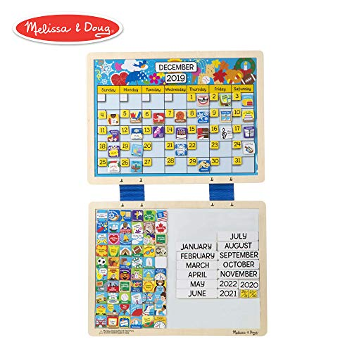 Melissa & Doug Monthly Magnetic Calendar With 133 Magnets and 2 Fabric-Hinged Dry-Erase - Magnetic Learning Calendar