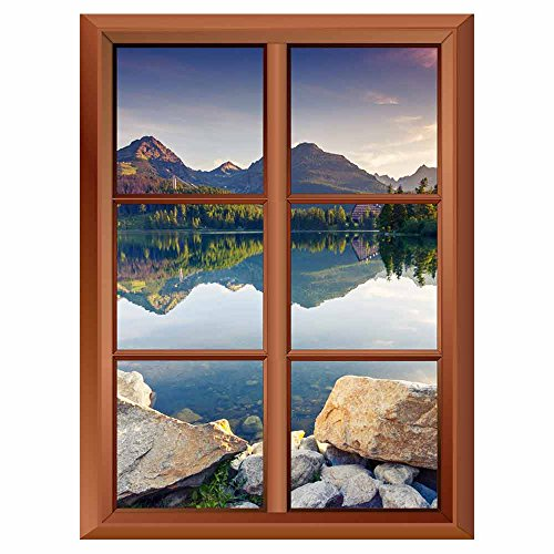 Removable Wall Sticker Wall Mural Mountain Lake in National Park High Tatra Strbske Pleso Slovakia Europe Creative Window View Vinyl Sticker