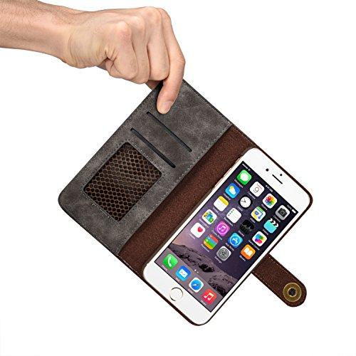 iPhone 5caso, ticase Premium caso botón de metal cierre de piel tipo magnético Funda [desmontable] [ID & Tarjeta de crédito Soporte] para iphone 5 marrón iPhone 6 6S marrón