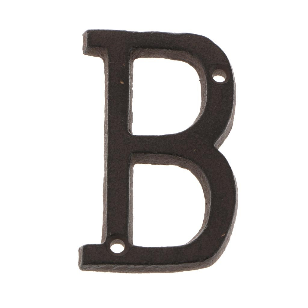MagiDeal Gro/ße Metall Buchstaben Hausnummer Haus Zahlen Braun Gusseisen B