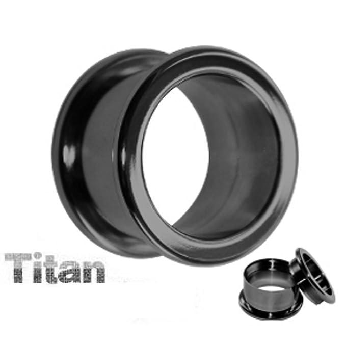 Plug de titanio en negro de Treuheld, extralargo, en 12 tamaños 2 - 20 mm, para pendientes con interior de rosca (10 mm de longitud), dilatación para el ...