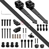 6ft 183cm Sliding Barn Wood Doors Black Arrow Style Hardware Track Set Sliding Track Door Stoppers M10 Bolts Wall Hangers Rollers Floor Guide Anti-jump Disks Accessories