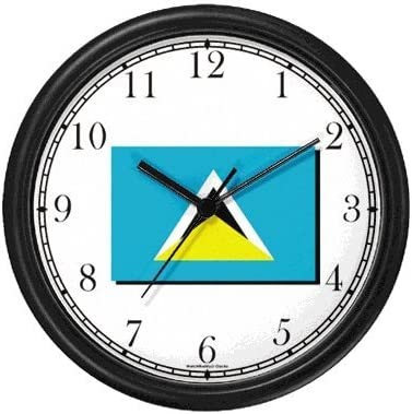 Amazon Com Flag Of St Lucia St Lucian Theme Wall Clock By Watchbuddy Timepieces White Frame Kitchen Dining