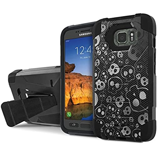 AT&T [Galaxy S7 Active] Armor Case [NakedShield] [Black/Black] Tough ShockProof [Kickstand] Phone Case - [Skull Texture] for Samsung Galaxy [S7 Active] Sales