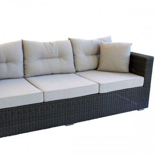 Alu-/Geflecht Lounge Bank Carlo 3-sitzig