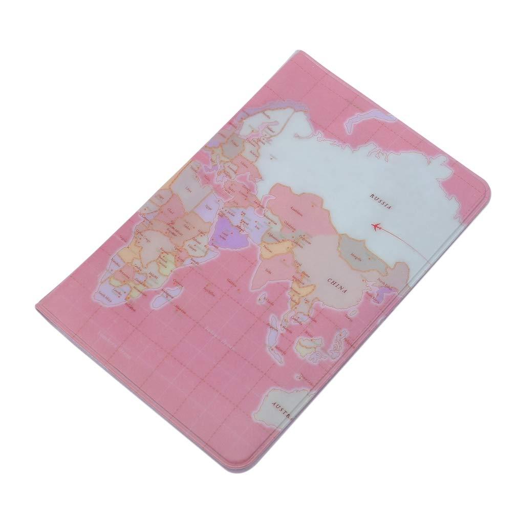 EH-LIFE World Map Passport Cover Passport Wallet Female Passport Holder Protective Pink