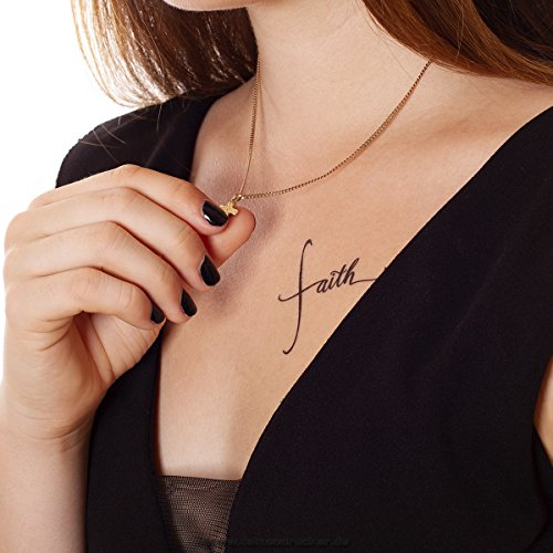 10 x Tattoo Card with Faith Trust Jesus Lettering in Black - Temporary Skin Tattoo (10)]()